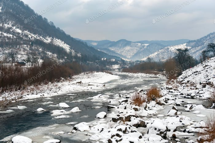 Beautiful winter landscape with river