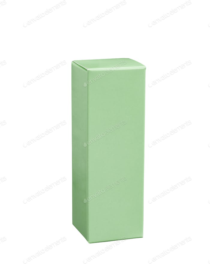 Green paper box isolated on white background