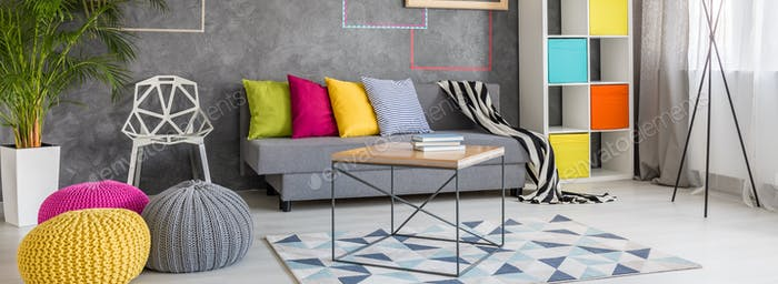 Colorful decorations in living room