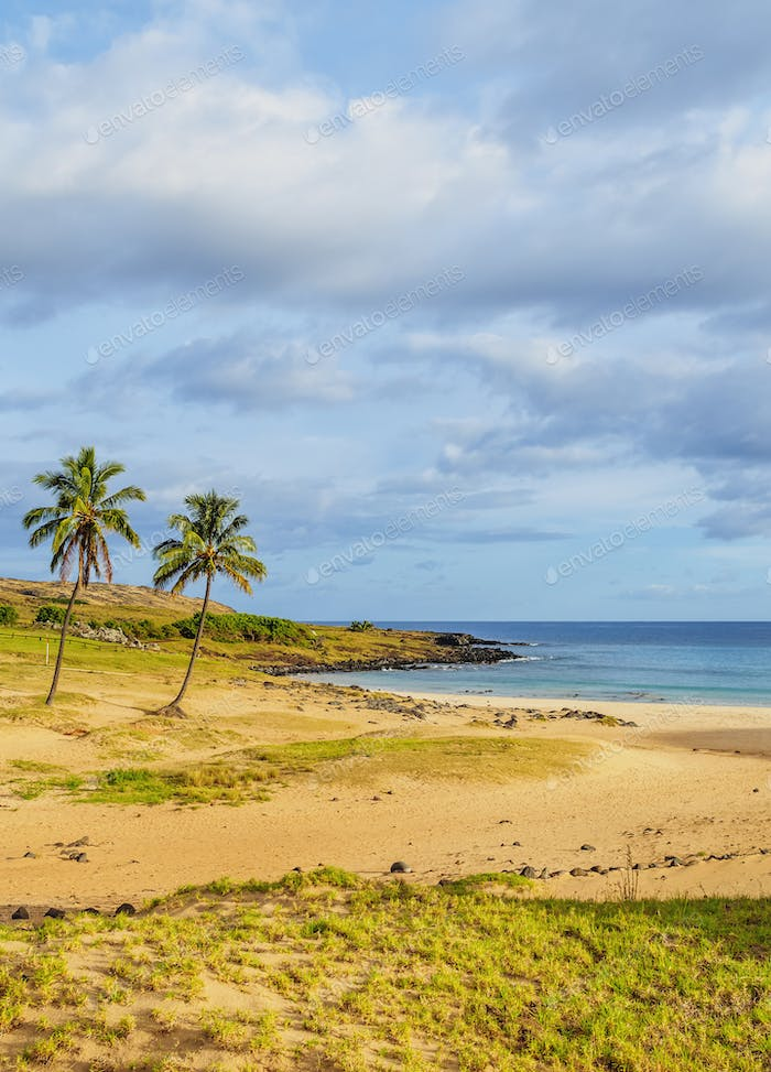 Anakena Beach on Easter Island, Chile