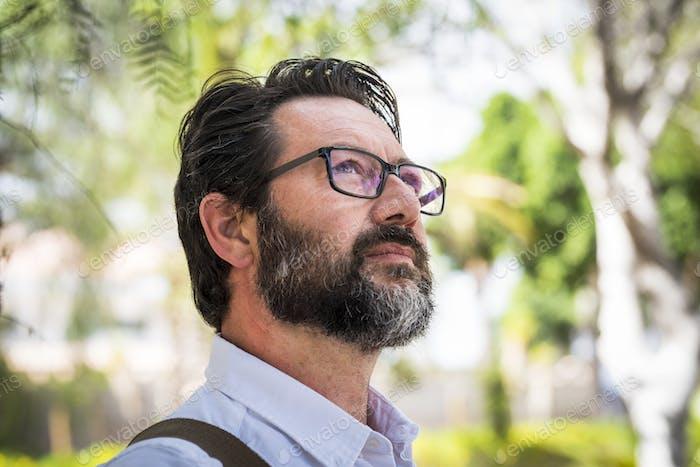Handsome adult mature man with eyeglasses