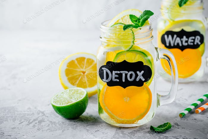 Infused detox water lemonade with orange, lemon and lime.