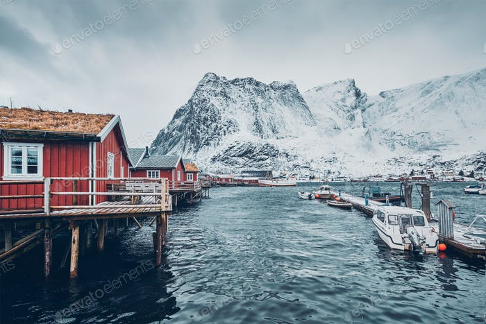 Traditional red rorbu houses in Reine, Norway