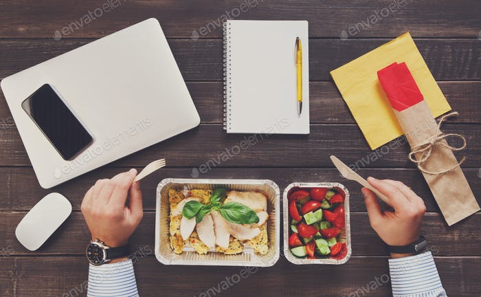 Healthy eating - business lunch top view
