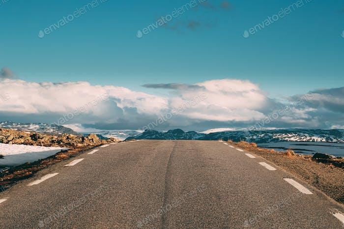 Aurlandsfjellet, Norway. Open Road Aurlandsfjellet. Scenic Route