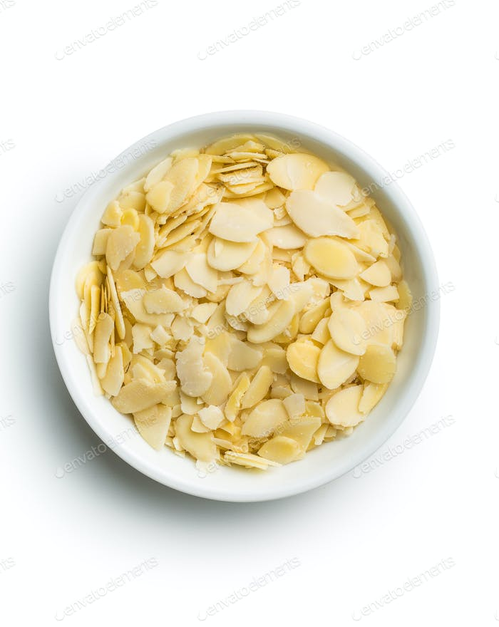 Sliced almonds in bowl.
