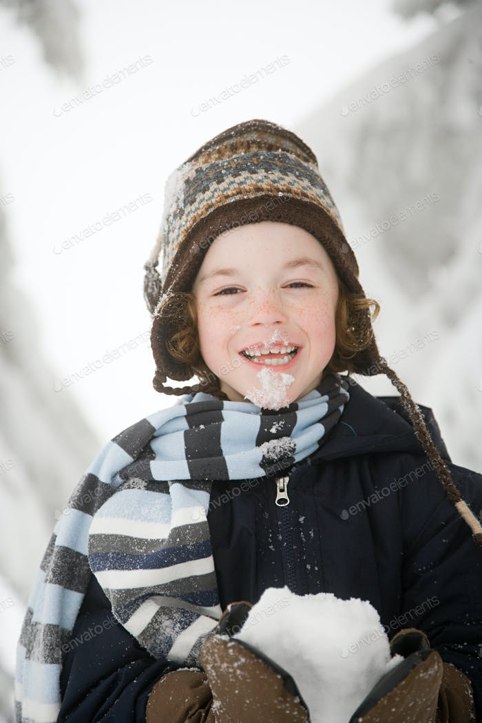 Boy with snow