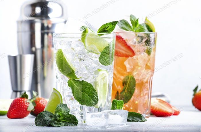 Frischer Mojito Cocktailset mit Limette, Minze, Erdbeere und Eis