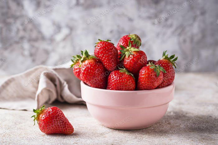 Bowl of sweet fresh strawberry