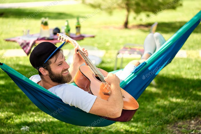 Relaxing with a guitar