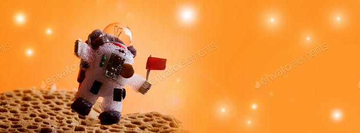 Spaceman floating stratosphere, orange planet sky stars background. Light bulb character dressed in
