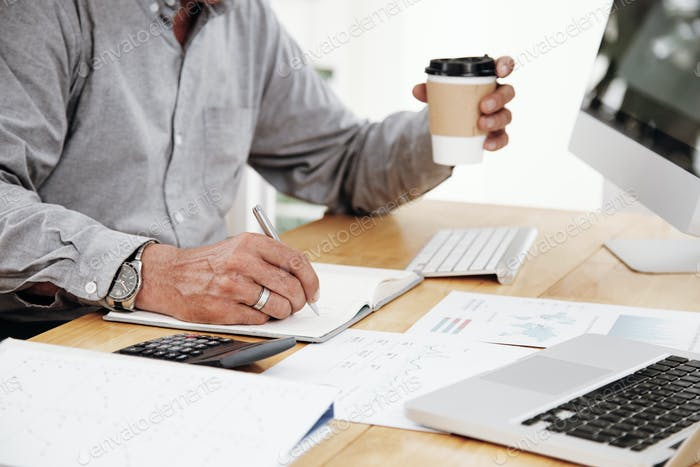 Man writing business plans