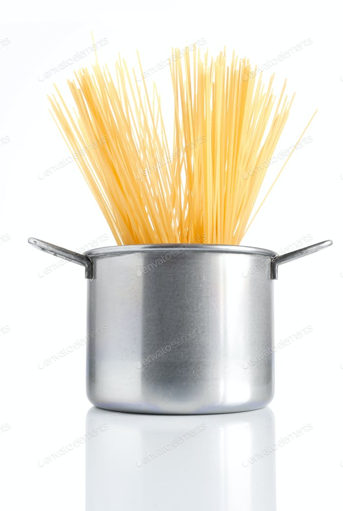 pot with spaghetti