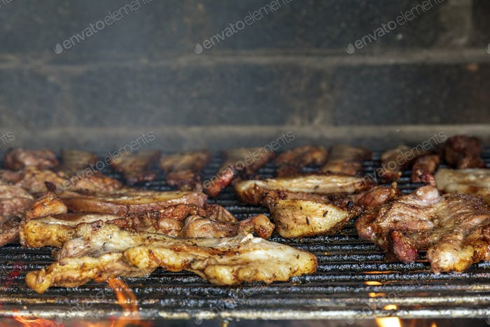 Meat on the barbecue grill