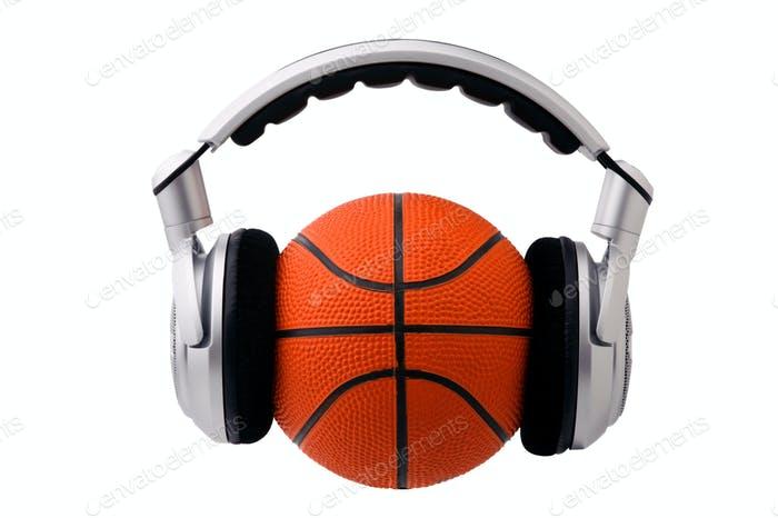 Headphones on a basketball ball