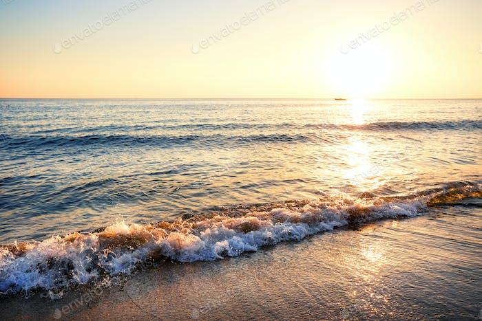 Sandy beach with waves