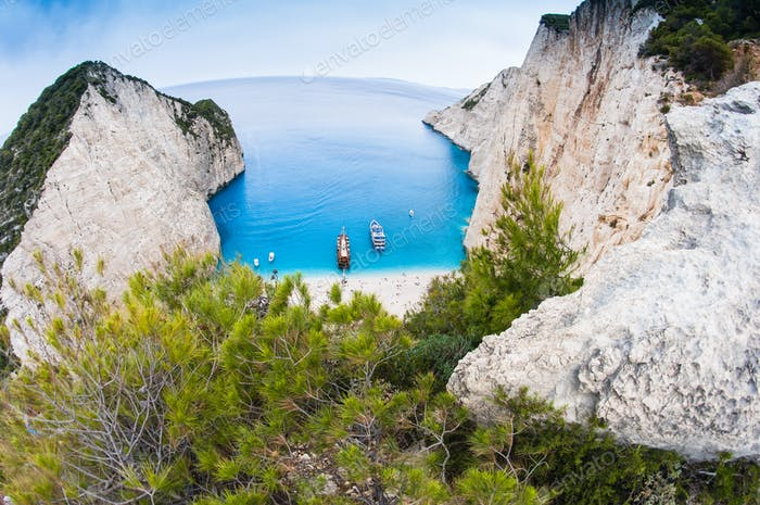 Bekannter Strand von Navagio, Zakynthos