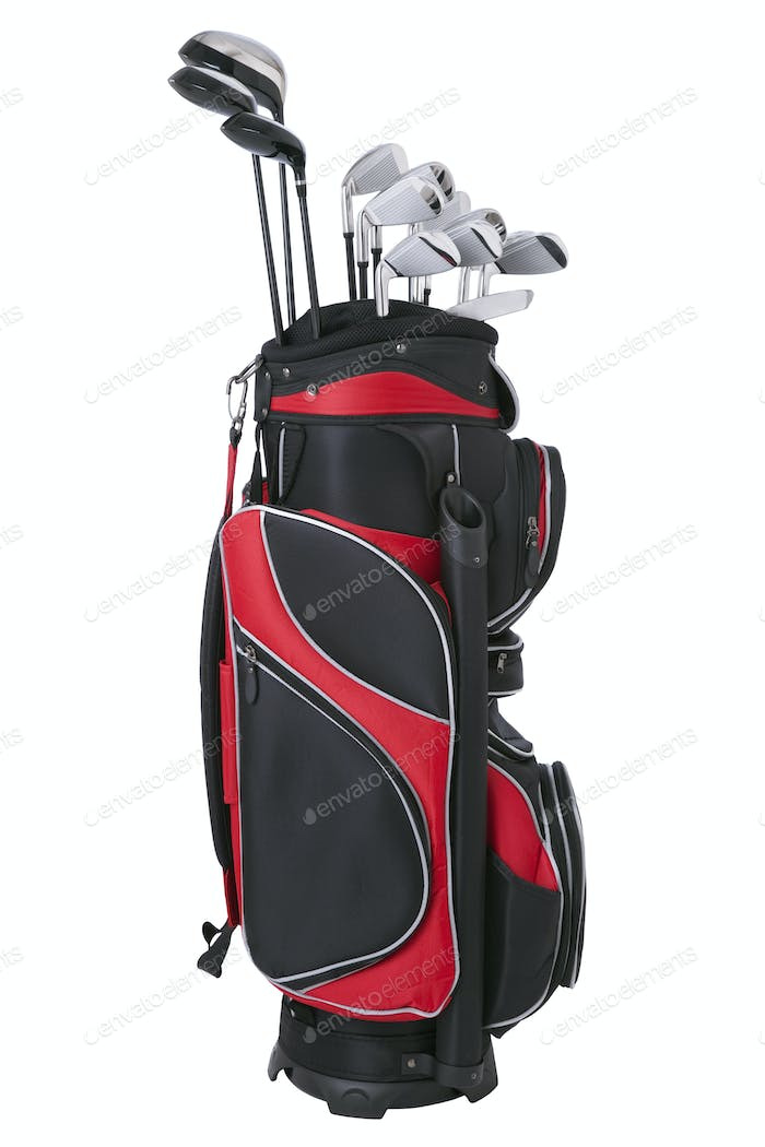 Red Golf Bag and Clubs Isolated on White Background