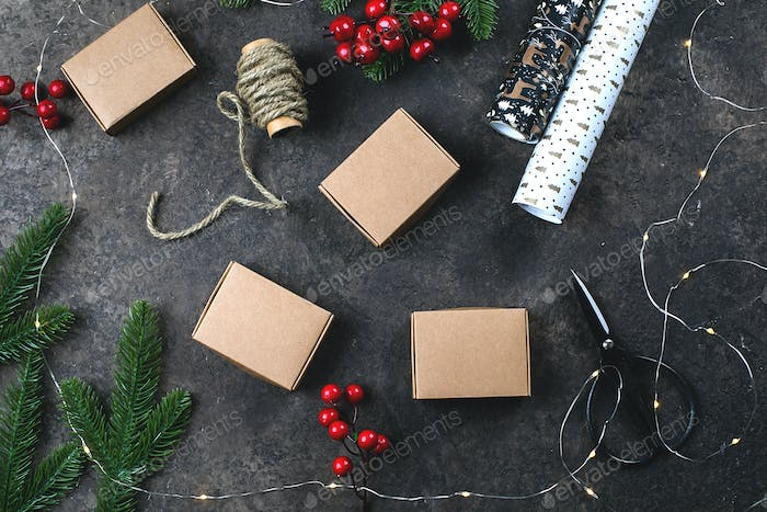 Christmas wrapping gifts flat lay
