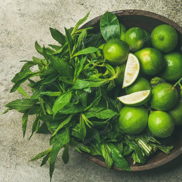Flatlay of fresh limes and mint, top view, square crop