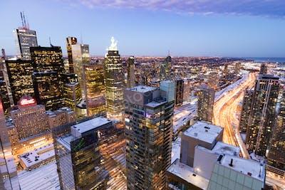 Toronto downtown highriser city view at dawn