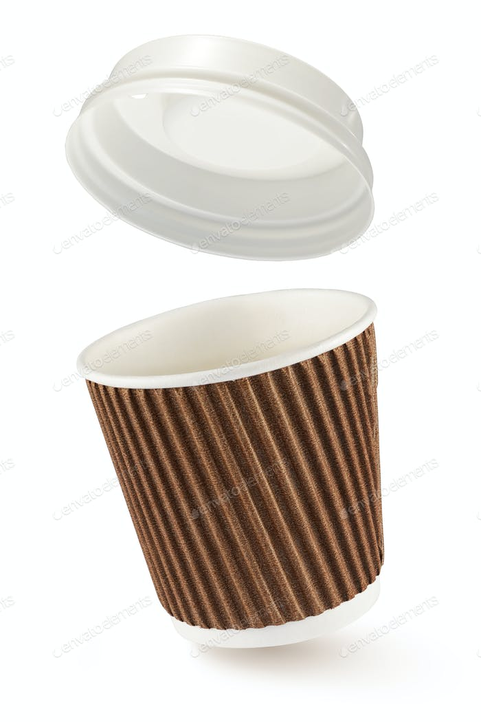 Corrugated fiberboard coffe cup to go isolated on white