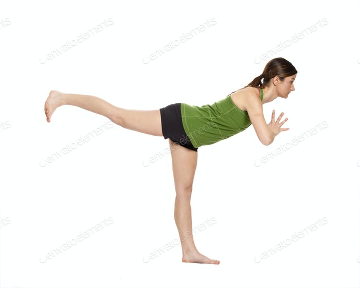 woman doing airplane position