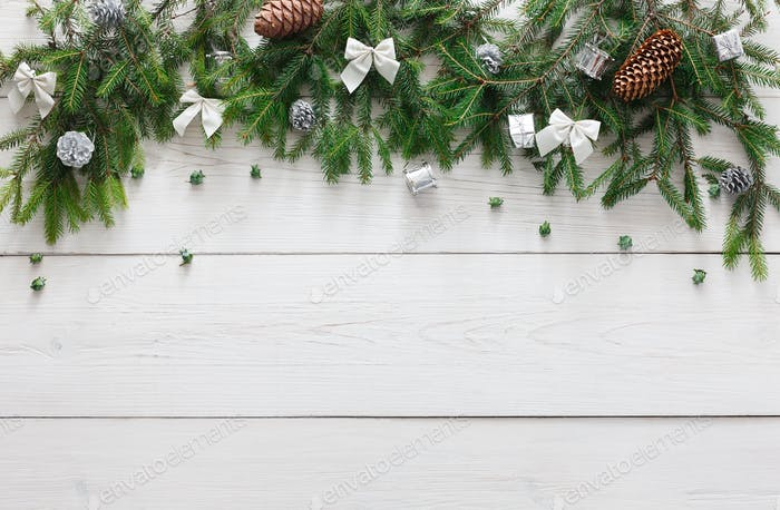 Christmas decoration, bows and garland frame background