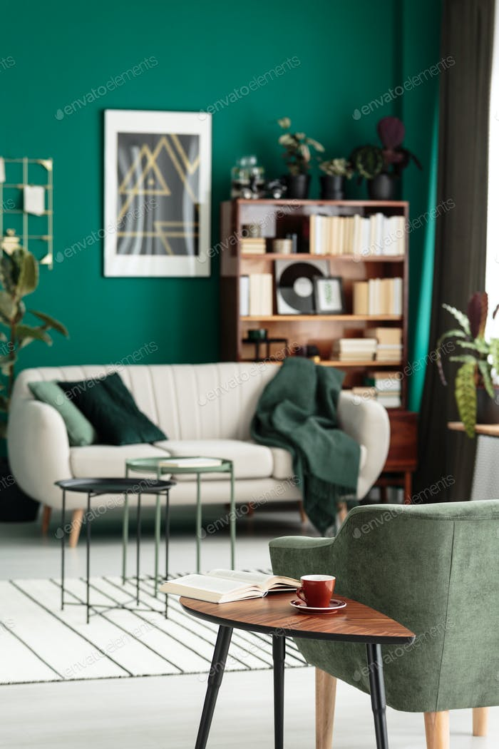 Green cozy living room interior