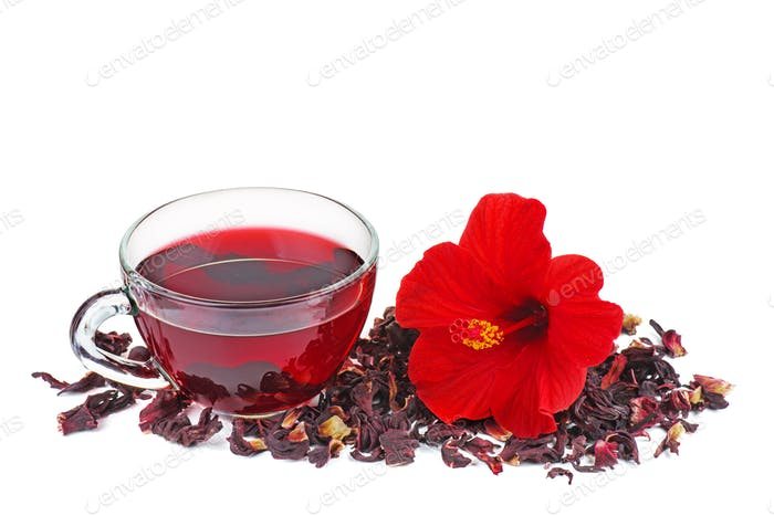 Hibiscus tea, flower and dry blossom