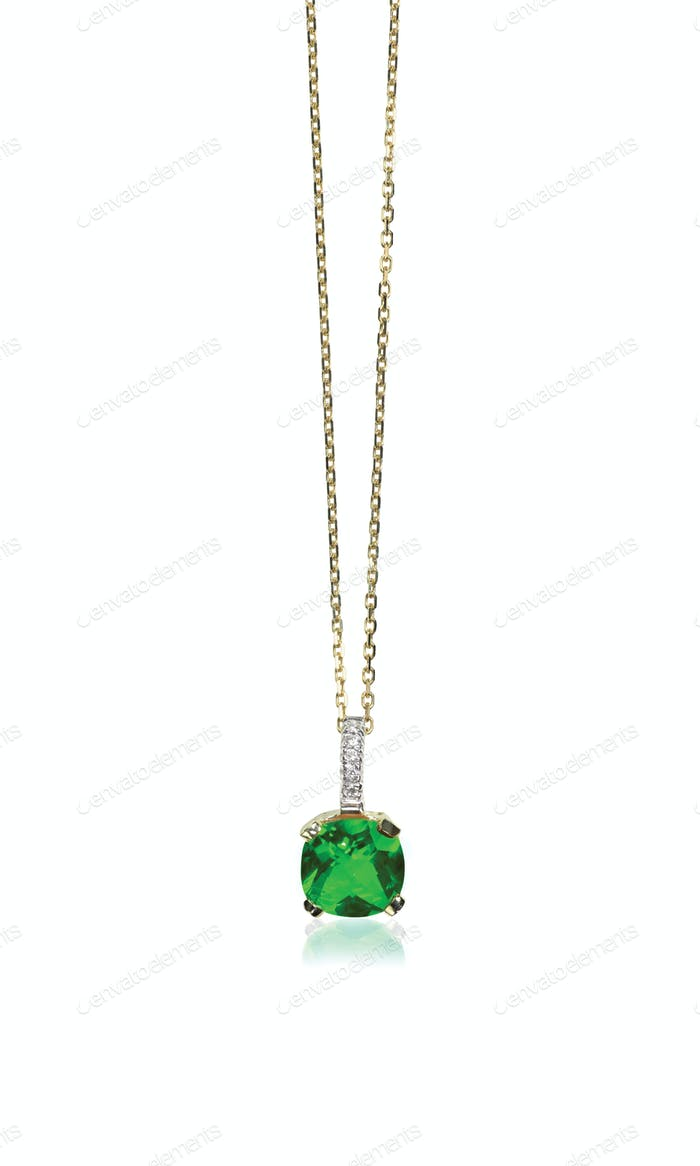 Green Emerald Gemstone Pendant Necklace