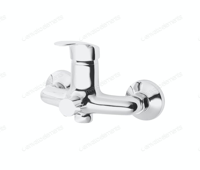 Chrome mixer tap on white background
