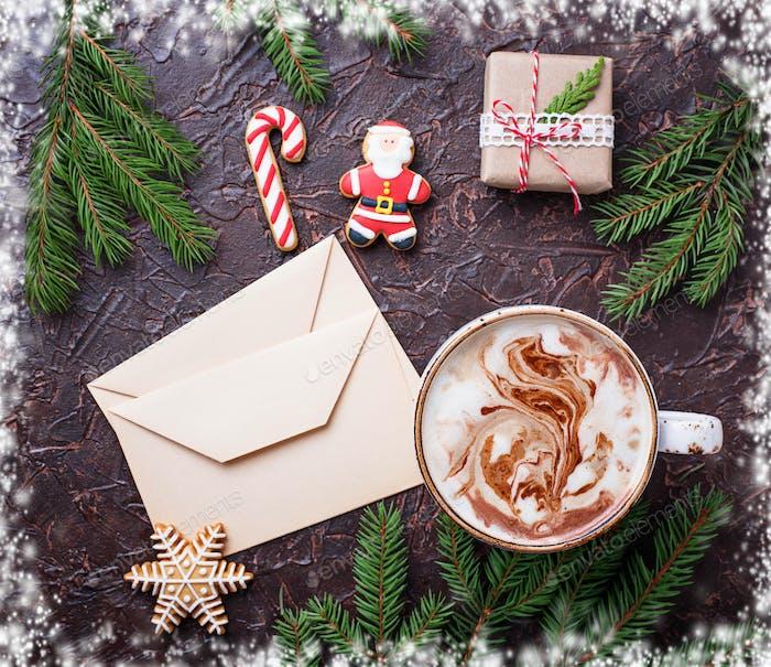 Weihnachten Hintergrund mit Latte und Buchstaben