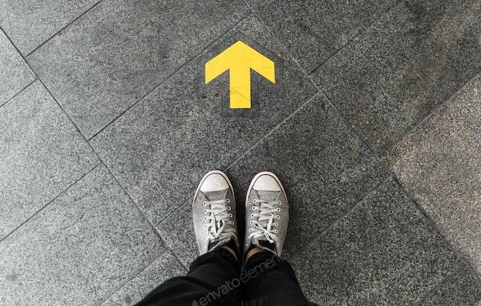 Direction arrow on the floor