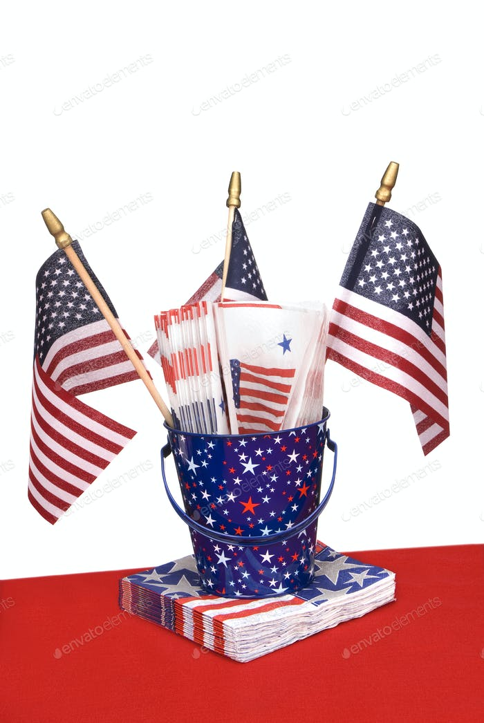 July Fourth napkins and American flags