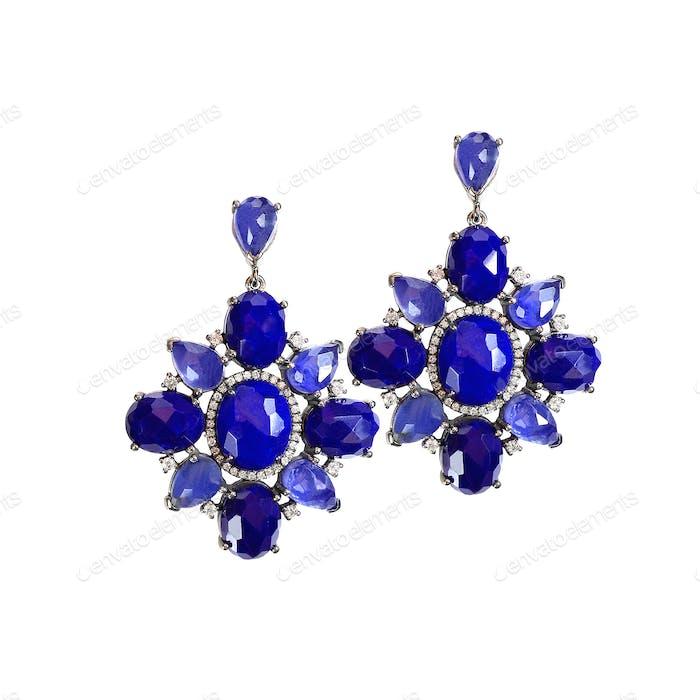 Lapislazuli Saphir blau Ohrringe Paar