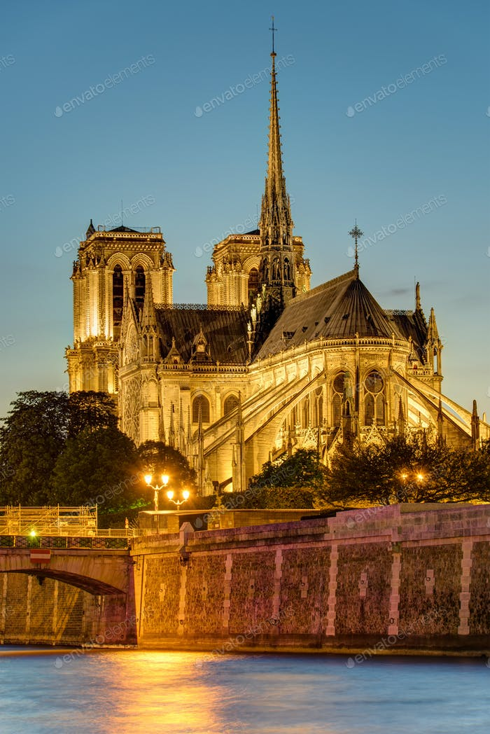 Notre Dame in Paris after sunset