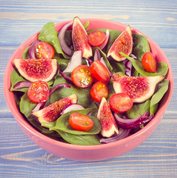 Vintage photo, Fruit and vegetable salad, healthy lifestyle and nutrition