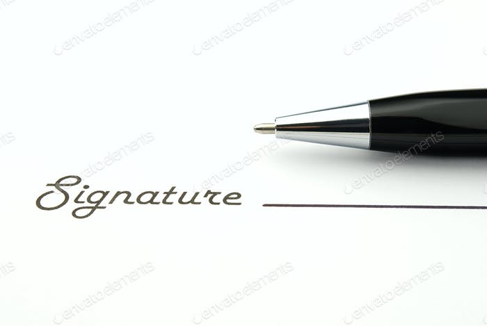 the signature and ball pen