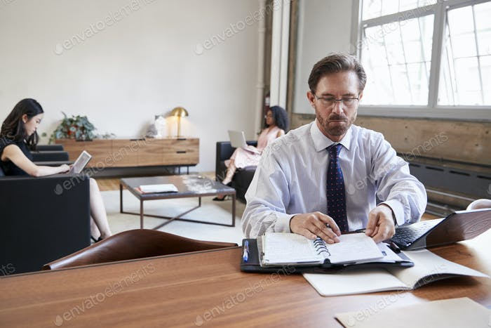 Businessman working at desk, female colleagues in background