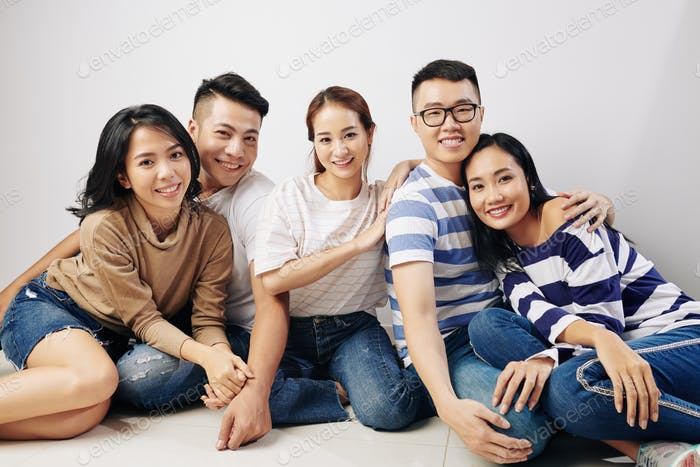 Happy young Asian people