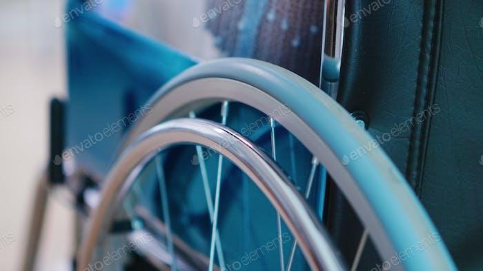 Following shot of wheelchair