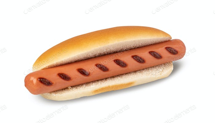 Hot dog on a white