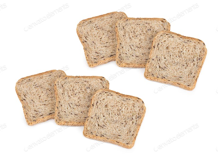 bread sliced, on white