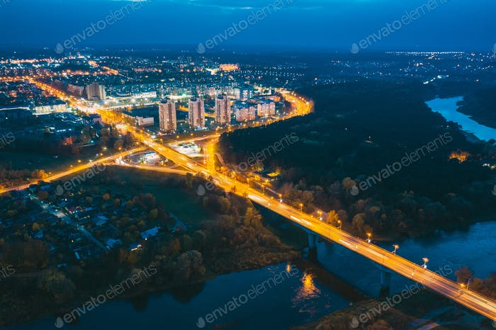 Grodno, Belarus. Night Aerial Bird's-eye View Of Hrodna Cityscape Skyline. Residential District