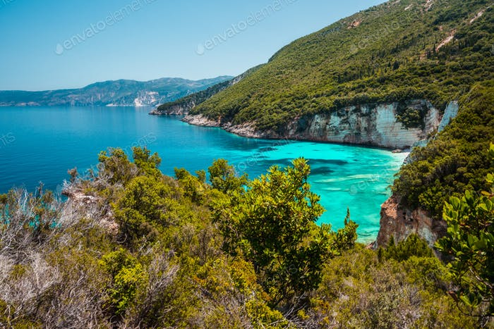 Stunning view of of seascape Ionian Sea, picturesque sea shore line Greece, Europe. Beauty of nature