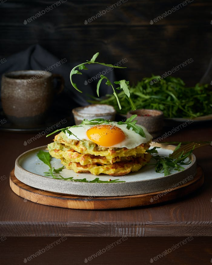 Levitation. Hearty fat breakfast. Dark brown table. Close up, vertical, copy space