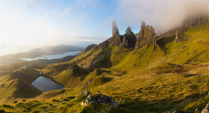 The Old Man of Storr rock pinnacles on the Trotternish peninsula of the Isle of Skye
