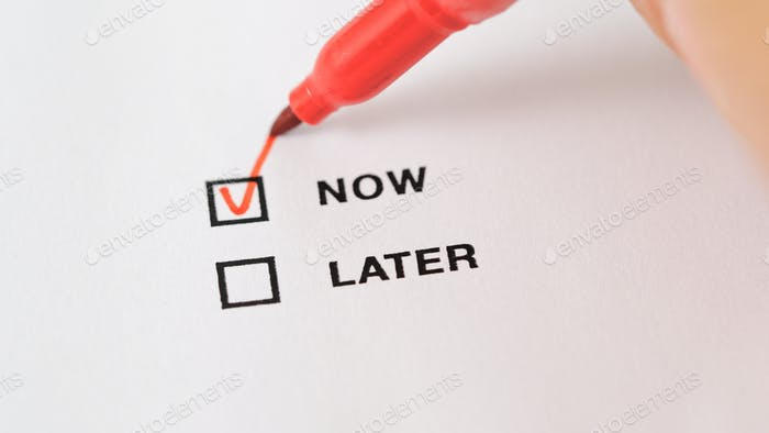 Marking check box of later and now