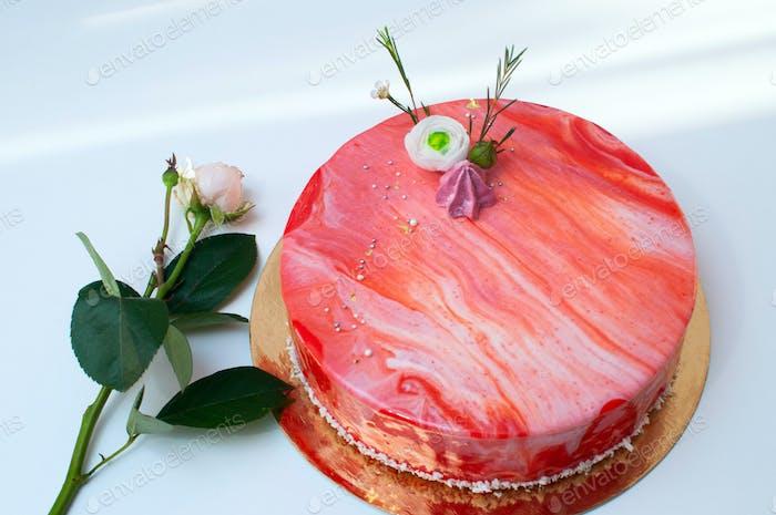 Diabella cake with mirror glaze